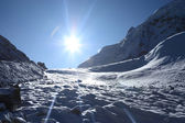 Sun over glaciers — Stockfoto