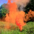 Orange smoke on a glade — Stock Photo