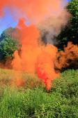 Orange smoke on a glade — Stock Photo