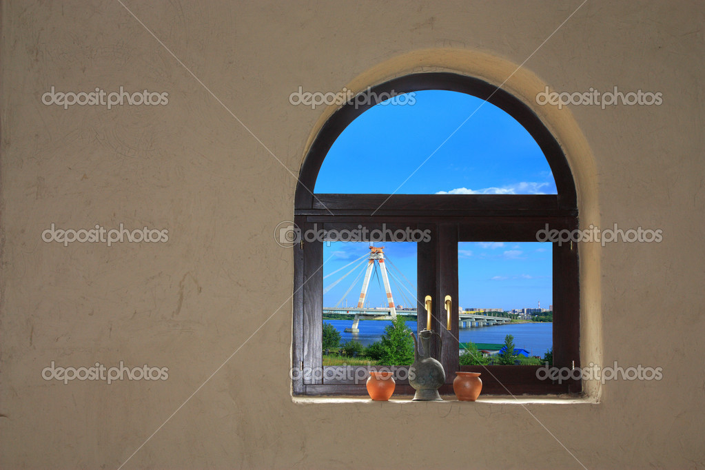 View of the city from the window of an old house — Stock Photo #1296285