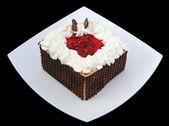 Bolo de chocolate com cerejas — Foto Stock