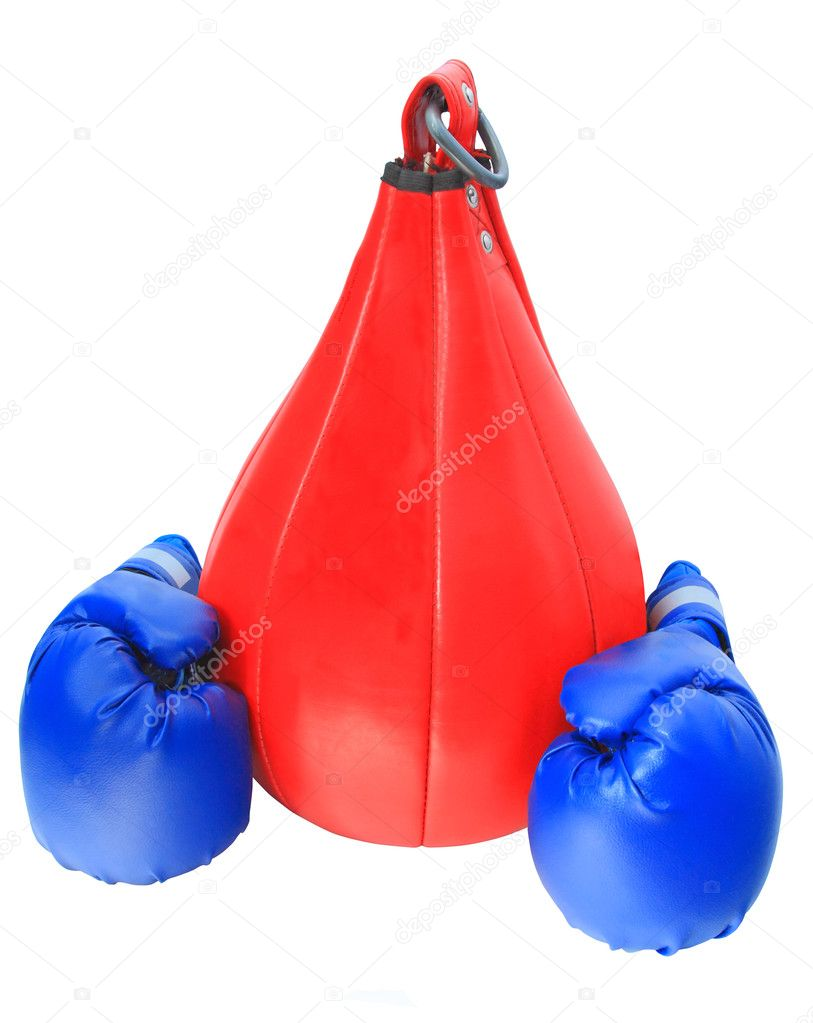 Boxing gloves and bag on a white background isolated — Stock Photo #1766393