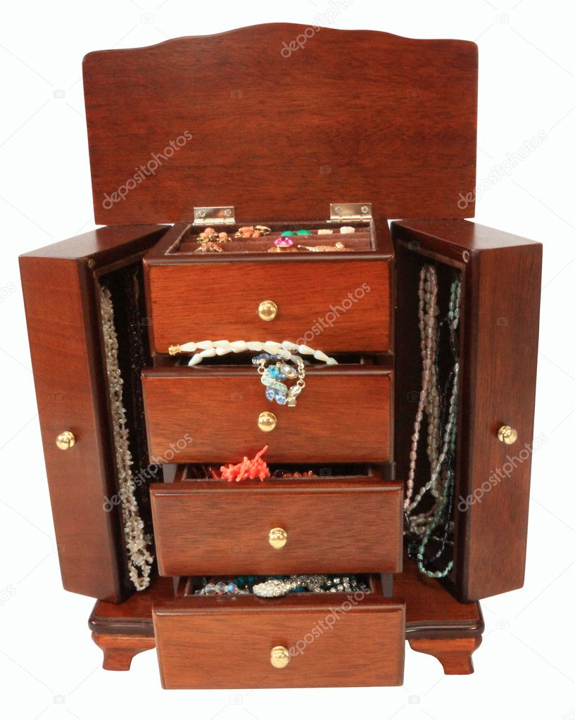 Casket with jewelry in the form of a locker on a white background isolated  Stock Photo #1766485