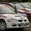 Stock Photo: Rally cars parked in row.
