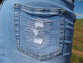 Jeans skirt pocket`s extreme close- up. — Stock Photo