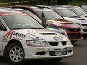 Rally cars parked in a row. — Stock Photo