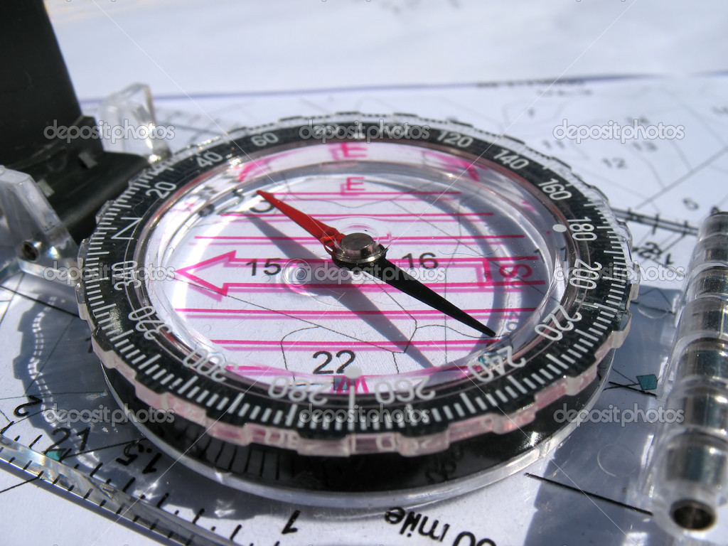 Compass and blueprints. Focus on arrow. — Stock Photo #1018712