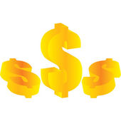 Gold US dollar sign set. Vector design e — Stock Photo