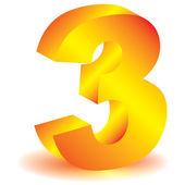 """Three"" symbol — Stock Photo"