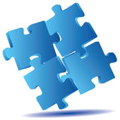 3D blue gradient puzzle. — Stock Photo