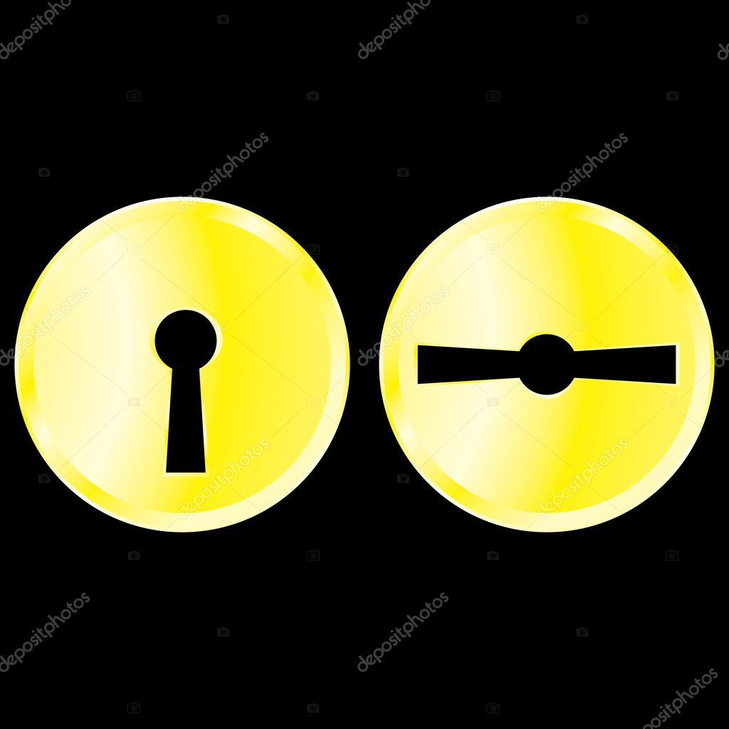 Gold keyholes set vector design element stock image