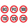 Road signs 80-130. - Stock Photo