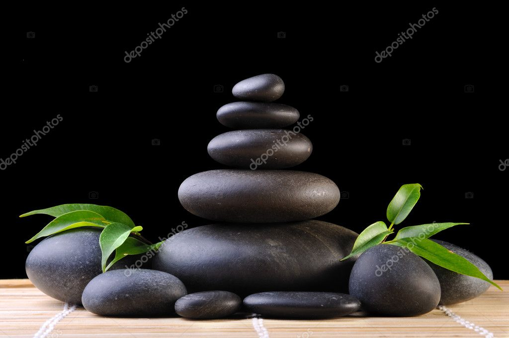 Green branch and zen stones  on the black background — Stock Photo #1051017