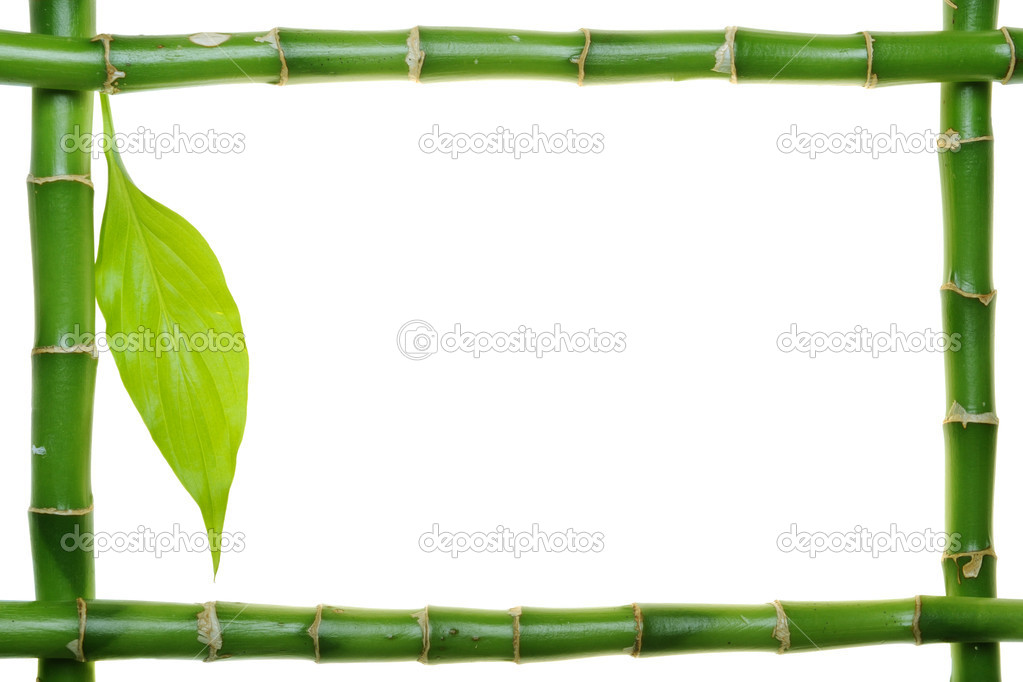 Bamboo frame on the white background — Stok fotoğraf #1702895