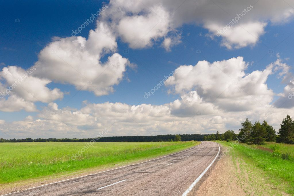 Country road at summer sunny day  Stock Photo #2081742