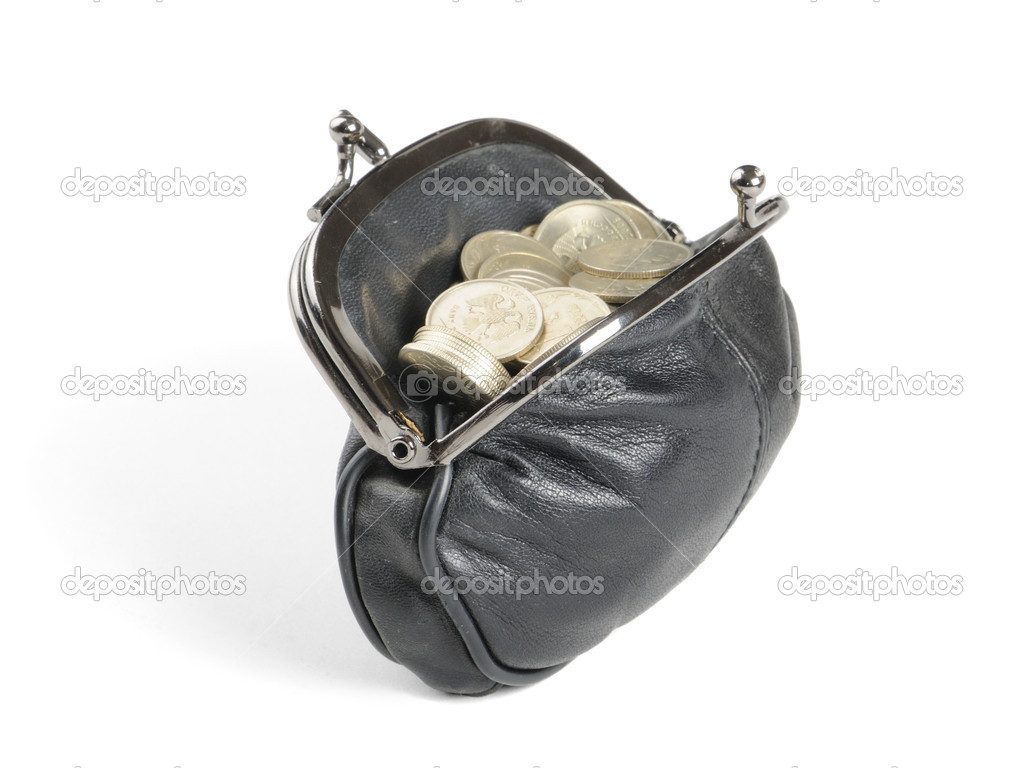 Purse with coins  on the white backgroun — Stock Photo #2243365
