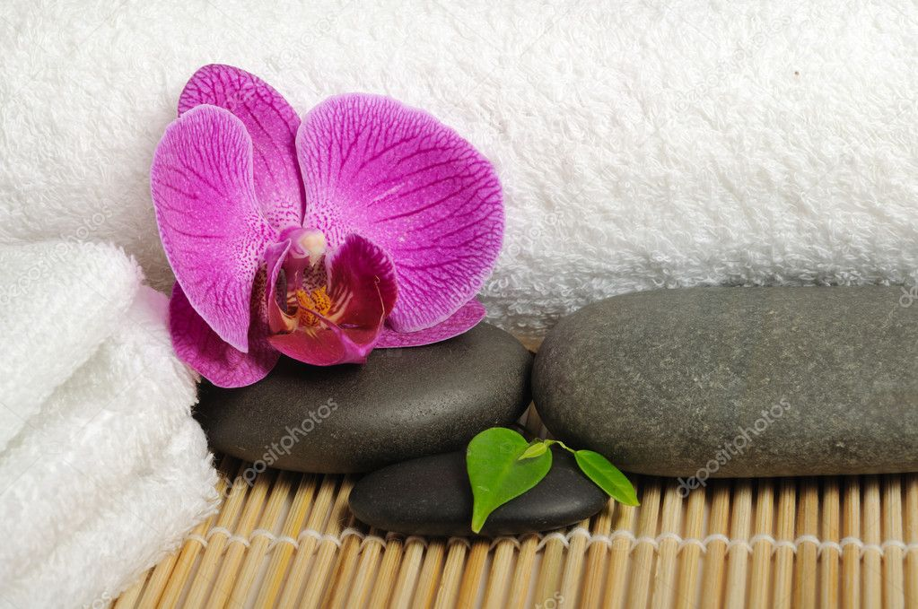 Spa concept with orchid and stones — Stock Photo #2243516