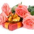 Stock Photo: Roses and gift