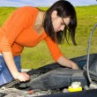Stock Photo: Womrepairing motor vehicle
