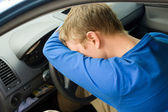 Man sleep in car — Stock Photo