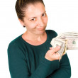 Girl with money — Stock Photo
