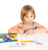 Child draws — Stok fotoğraf