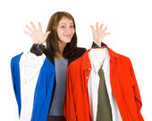 Young lady purchasing clothes — Stock Photo