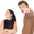 Wife and husband yelling at each other — Stock Photo