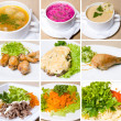 Stock Photo: Soup, meat, salad and other food