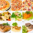 Stock Photo: Pizza, meat, salad and other food