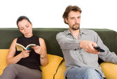 Wife and husband yelling to each other — Stock Photo