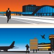 Royalty-Free Stock Vectorafbeeldingen: Air terminal and railway station