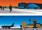 Air terminal and railway station — Stock Vector