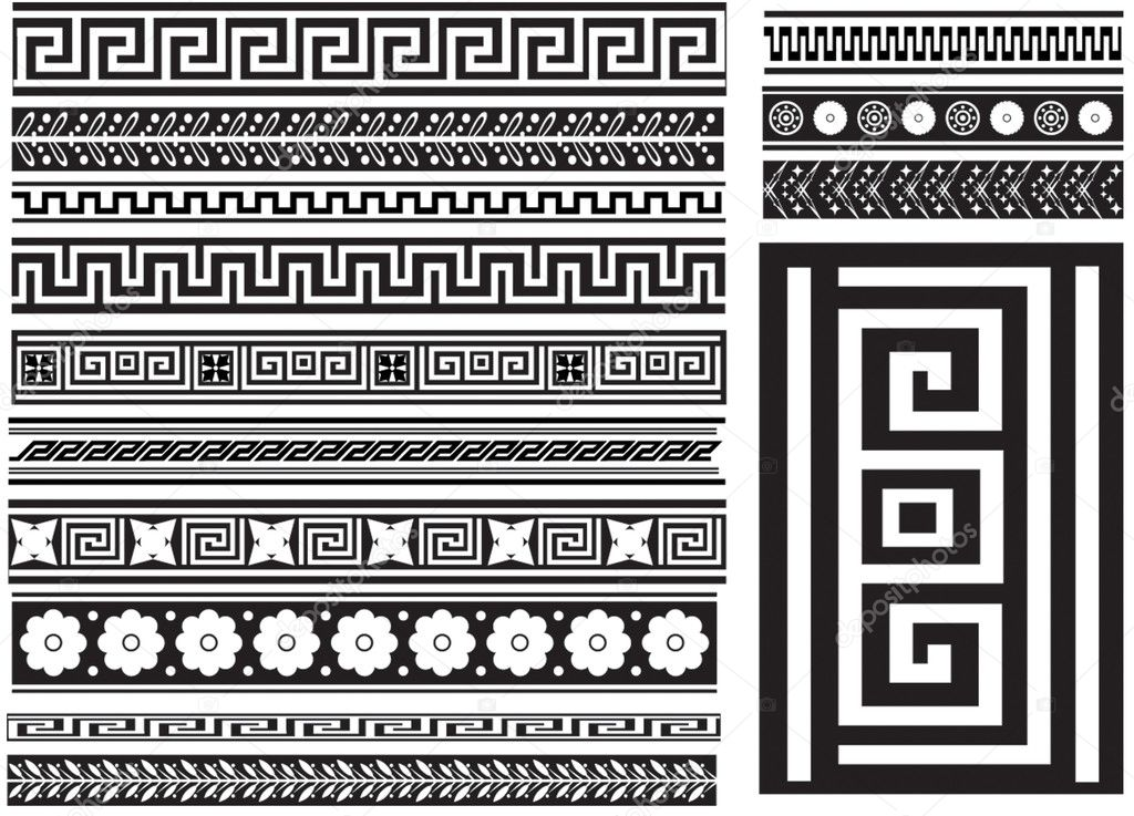 Different types of seamless Greek patterns — Stock Vector #1057758