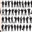 Stock Vector: Silhouettes of many business