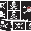 Skull and crossbones. Pirate flags — Stock Vector