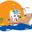 Ship in tropical sea — Stock Vector