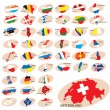 Royalty-Free Stock Immagine Vettoriale: Flags and silhouettes of the countries.