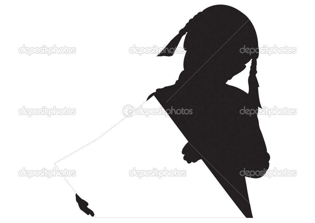 Silhouette of the girl with empty poster in hand — Stock Vector #1082908