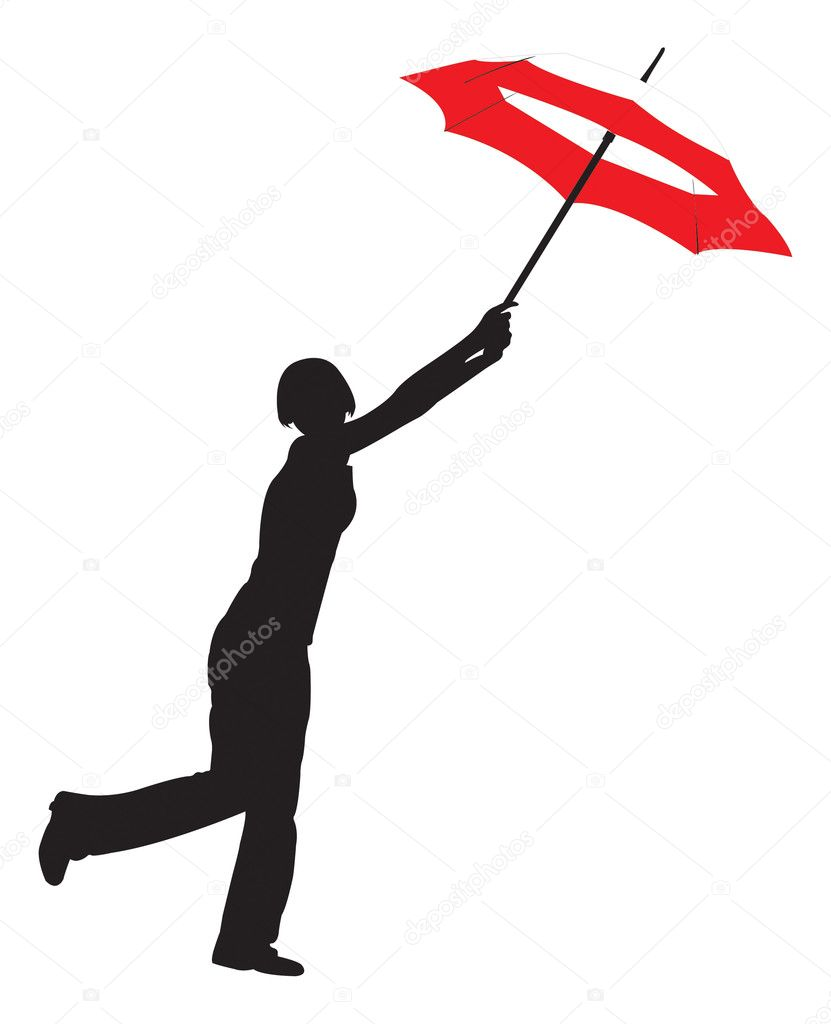 Silhouette of the girl with umbrella stock illustration