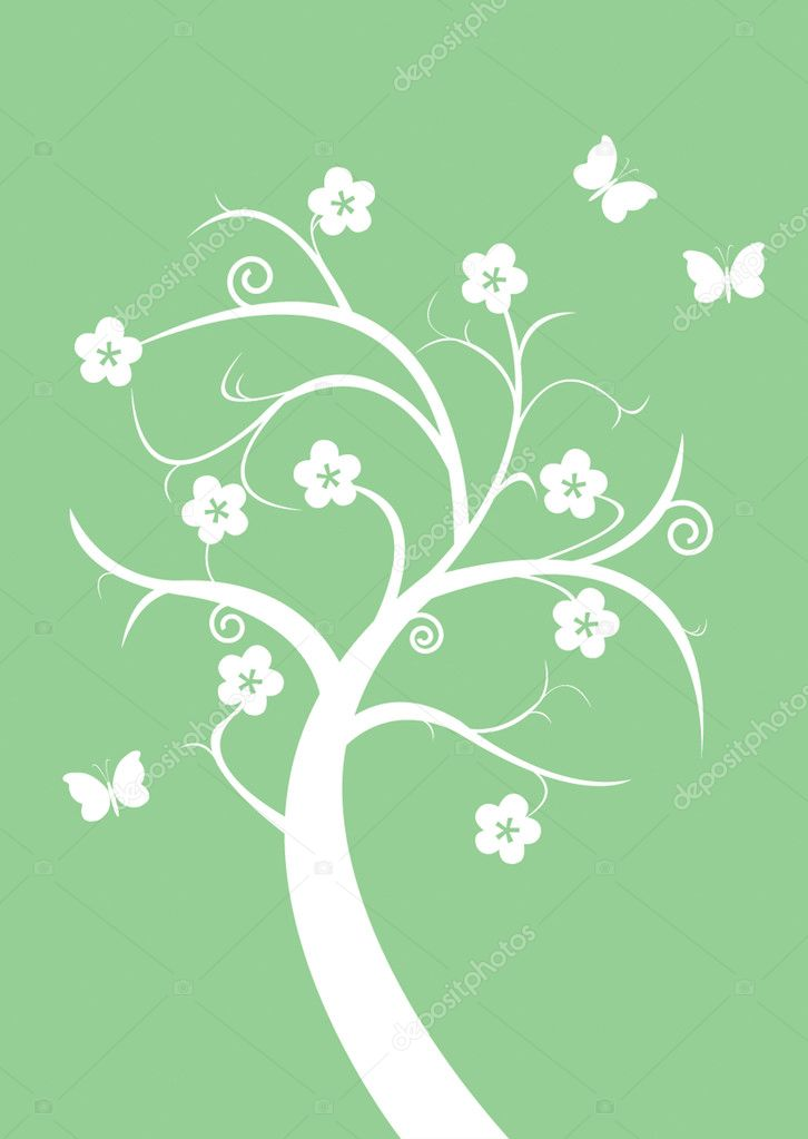 Silhouette flowering tree and butterflies — Stock Vector #1088608