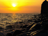 Coucher de soleil sur la plage — Photo