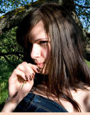 Retrato de menina bonita — Foto Stock