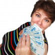 Stock Photo: Womwith money