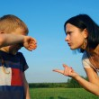 Young mother scolds her son — Stock Photo