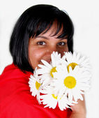Girl with daisies — Stock fotografie