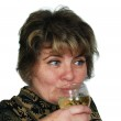 Female drink champagne — Stock Photo
