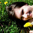 Girl with dandelion — Stock Photo #1107238