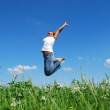 Black girl jumping — Stock Photo