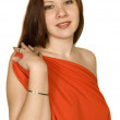 Portrait of girl in red dress — Stock Photo